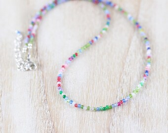 Delicate Multi Color Gemstone Necklace in Sterling Silver, Gold or Rose Gold Filled, Dainty Beaded Choker, Long Layering Necklace for Women