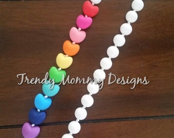 Sale! Cacading Rainbow Heart Teething Necklace with White Beads! Nursing Necklace! Perfect Baby Shower gift!