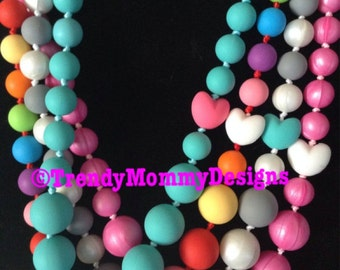 Heart Bead Silicone Teething /Nursing Necklace for Mommy! Silicone Heart Bead! bpa, lead and metal free!