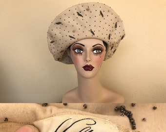 5b1ccd5fa15 Vintage 1940 s Large Beige Hat ~ Glamorous Beret Style Hat ~ Covered In  Beads ~ Hafters Hat