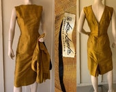 Vintage 1950s Dress Jacket V Back, Gold Silk, W Black Lining, Cropped Jacket Great Quality and Condition Kow Kameko, California