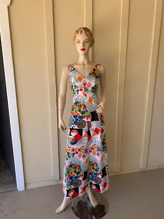 Vintage 1970's Maxi Dress ~ Sleeveless, Red, Blue… - image 3