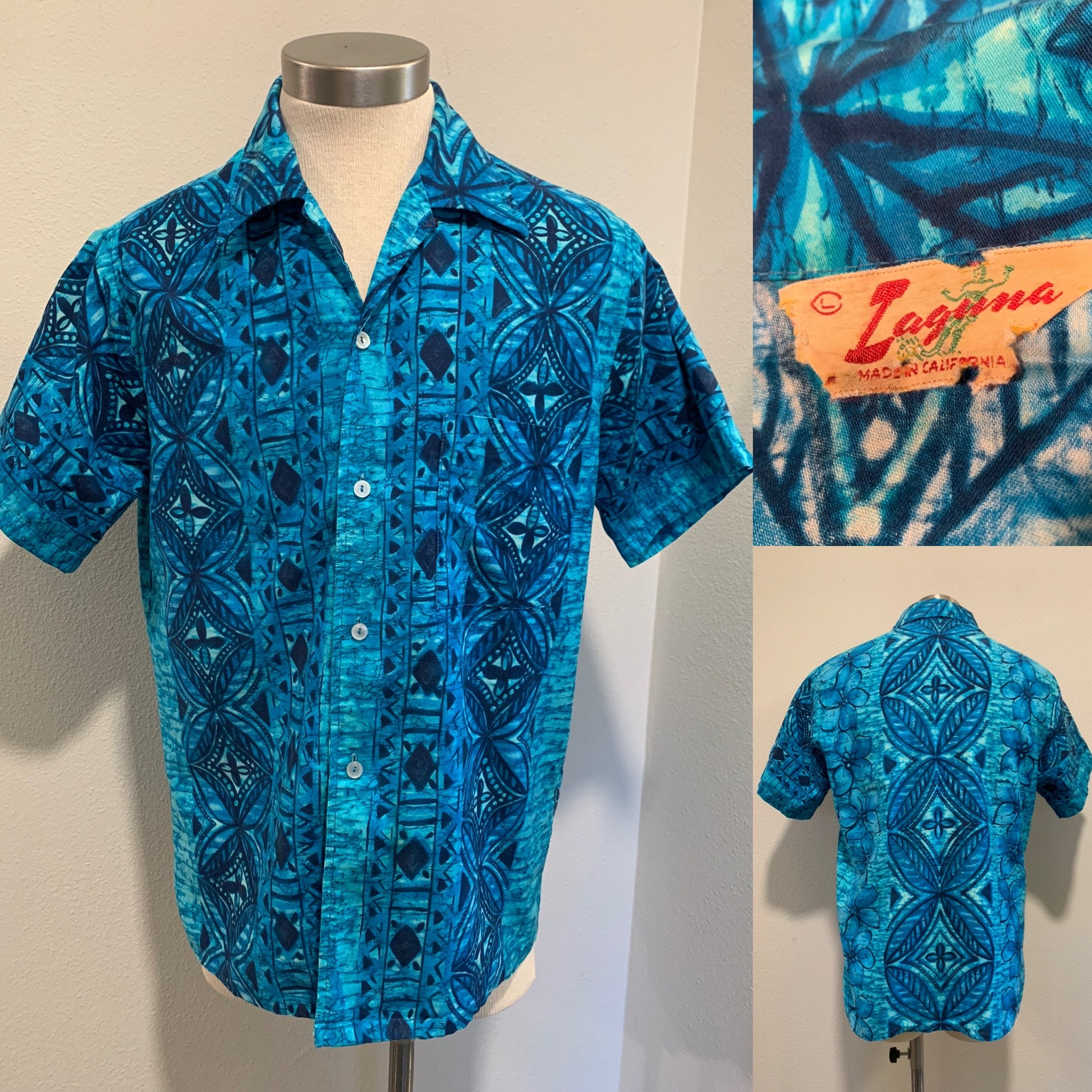 1970s Men's Shirt Styles – Vintage 70s Shirts for Guys 1970s Vintage Mens Shirt  Surf Shirt, Blue Printed Cotton, Label Says Laguna, Made in California, Sz L, Great Quality  Condition $75.00 AT vintagedancer.com