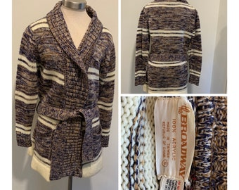 Vintage Late 1970's Sweater Jacket ~ Belted, Brown, Navy Blue And Off White, Two Pockets, Great Quality And Condition ~ Size Small