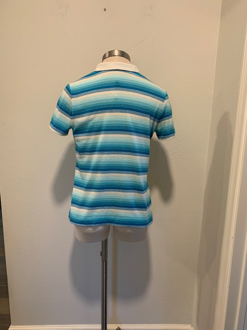 Great Condition ~ Size Small Two Snaps Vintage 1970\u2019s Shirt ~ Turquoise And White Cotton Polo Shirt