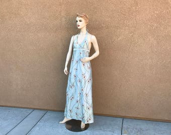 1970's Vintage Hippie Halter Dress ~ Daisy, Backless, Metallic Light Green, Maxi Dress ~ Size 34 B and Made In Hong Kong ~ Great Condition