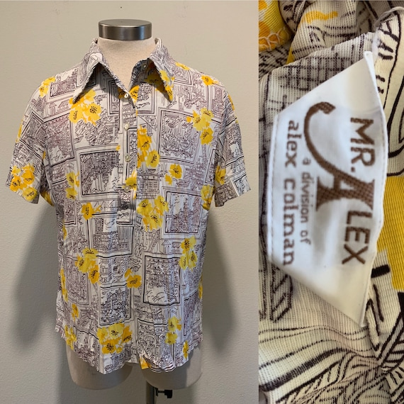 Early 1970's Vintage Men's Shirt ~ Printed Nylon S