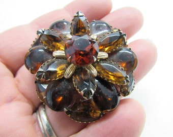 Amber and Rhinestone Brooch