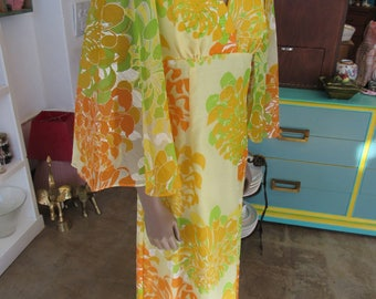 Vintage Yellow Alfred Shaheen Hand Printed 1960s Dress Size 12