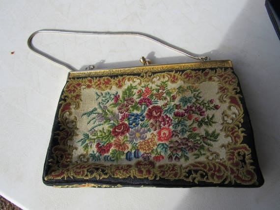 Vintage Metal and Fabric Evening Purse