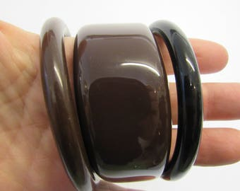 Set of 3 Brown and Black Lucite Bangle Bracelets