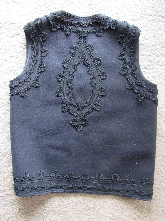 Vintage Black Wool and Brocade Vest