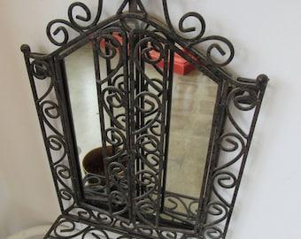 Vintage Ornate Metal Mirror