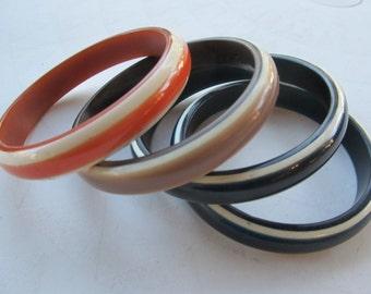 Set of 4 Vintage Lucite Striped Bangles