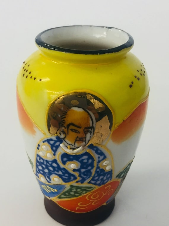 Vintage Small Hand Painted Japanese Vase Etsy
