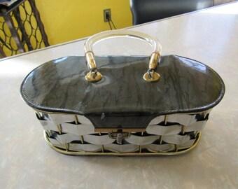 Vintage Metal and Lucite Weave Handbag