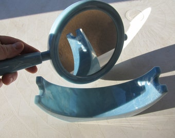 Vintage Blue Plastic MIrror and Cradle