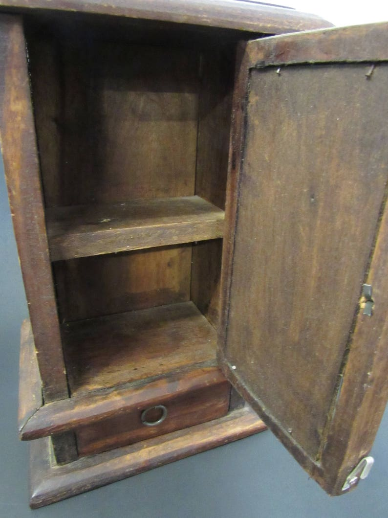 Vintage Wood Jewelry Chest with Mirror 12 x 7.25 x 4