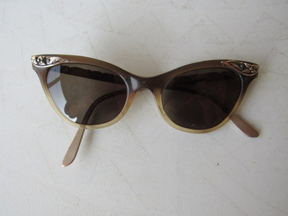1950s Brown and Gold Cat Eye Sunglasses