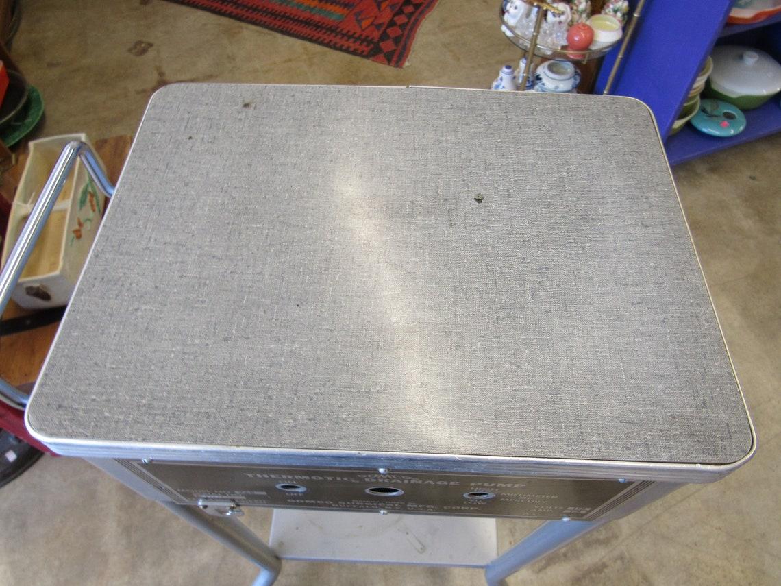 Vintage Idustrial Medical Gray Metal Pump Table on Wheels