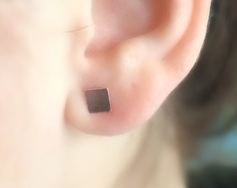 Square Earrings, Square Studs, Geometric Earrings, Sterling Silver Earrings, Minimal Studs, Delicate Earrings