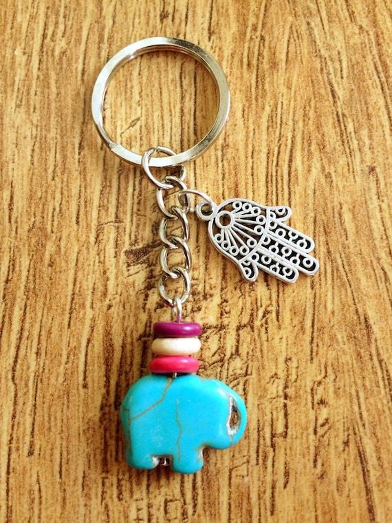 Protection Keychain Hamsa Hand Keychain Turquoise Elephant Etsy