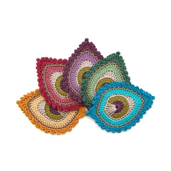 Crochet Pattern Peacock Feather Motif Java Etsy