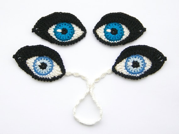 Crochet Pattern Eyes Bookmark And Applique Motif For Dolls Etsy
