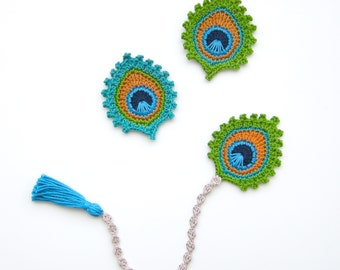 """Crochet PATTERN Peacock Feather BOOKMARK and Motif """"Burma""""  - Photo Tutorial for BEGINNERS"""