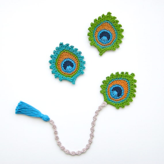 Crochet Pattern Peacock Feather Bookmark And Motif Etsy