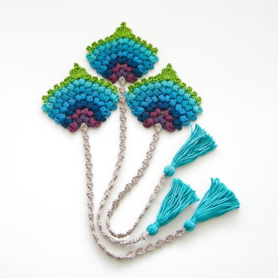 Crochet Pattern Bookmark Peacock Feather Fan Photo Tutorial Etsy