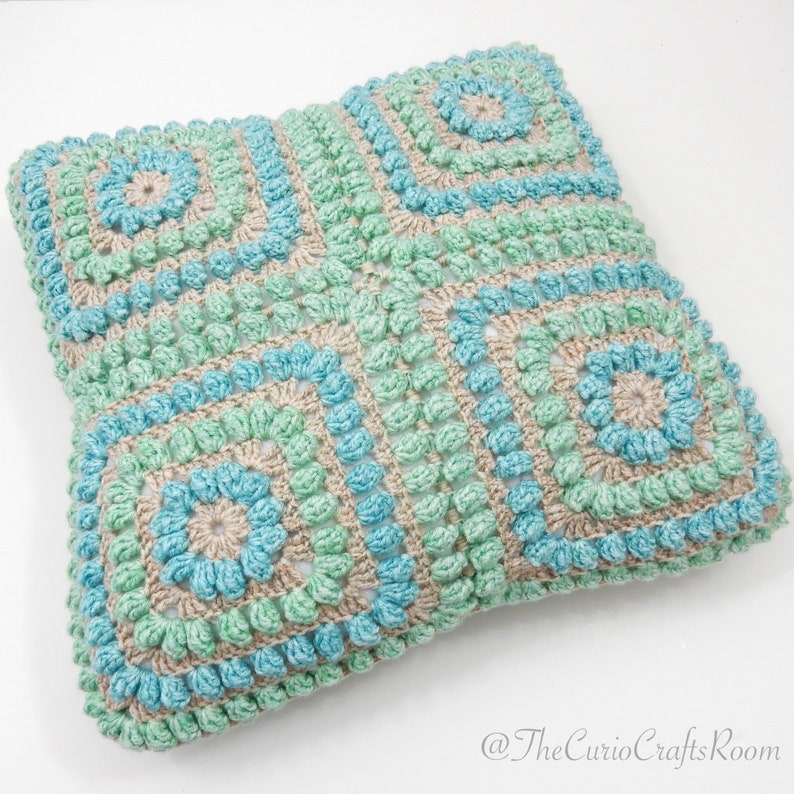 Crochet PATTERN Squishy Popcorn Cushion Cover 8 granny squares NEW BEGINNERS level