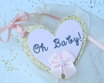 Oh baby favors, it's a girl baby shower favors, gold glitter heart favor tags with natural linen bags, set of 10