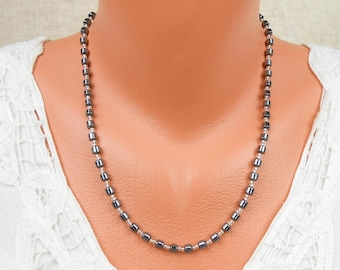 """Hematite Necklace, Monochrome Jewellery, Root Chakra Jewelry, Stripy Necklace, Sterling Silver and Black Gemstone Beaded Necklace 52cm 20.5"""""""