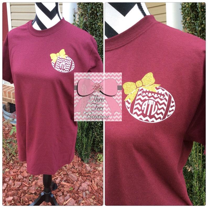 f30e6c12 Chevron Football with Bow Monogram T-Shirt Monogrammed T Shirt | Etsy