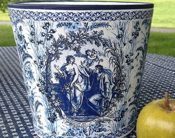 Blue and White Transferware Toile de Jouy Cache Pot French Country Decor Chinoiserie Kitchen Herb Pot Vintage China Pattern Flower Pot & China pattern | Etsy