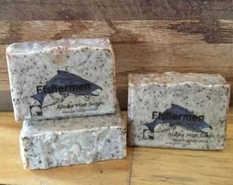 Fisherman's Soap, All Natural Soap, Exfoliating Coffee Soap, Gift for Him, Vegan Soap, Fishermen Soap, Hunter's Soap, Alaska Handmade Soap