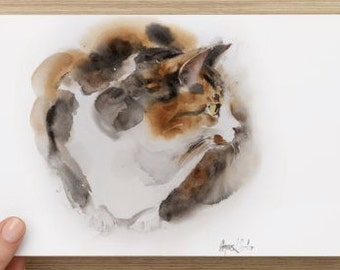 """Oversized postcard (8.52"""" x 5.47"""") with my cat art Postcards, Cat Watercolor Card"""