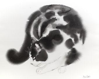 Digging cat - watercolor painting (100 dollar cat)