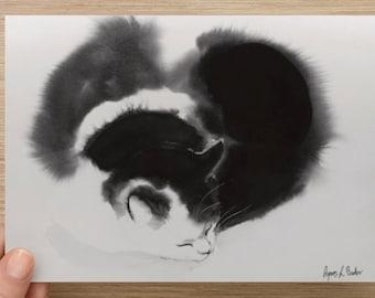 "Medium postcard (7"" x 5"")  Card with my cat art Postcards, Fine Art Watercolor Card"