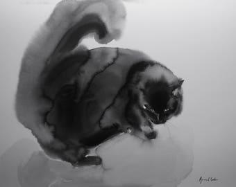 Black cat - original cat watercolor for catlovers