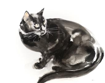 Looking back - original watercolor painting (100 dollar cat)