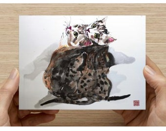 """Postcards (5.47"""" x 4.21"""")   It is a print of my cat painting."""