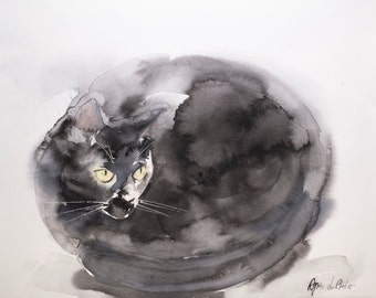 Curled up cat - 16 x 20 inches original watercolor painting