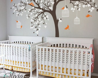 Large Maple Tree with Birds Vinyl Wall Decal for Nursery - NT012  sc 1 st  Etsy & Maple tree decal   Etsy