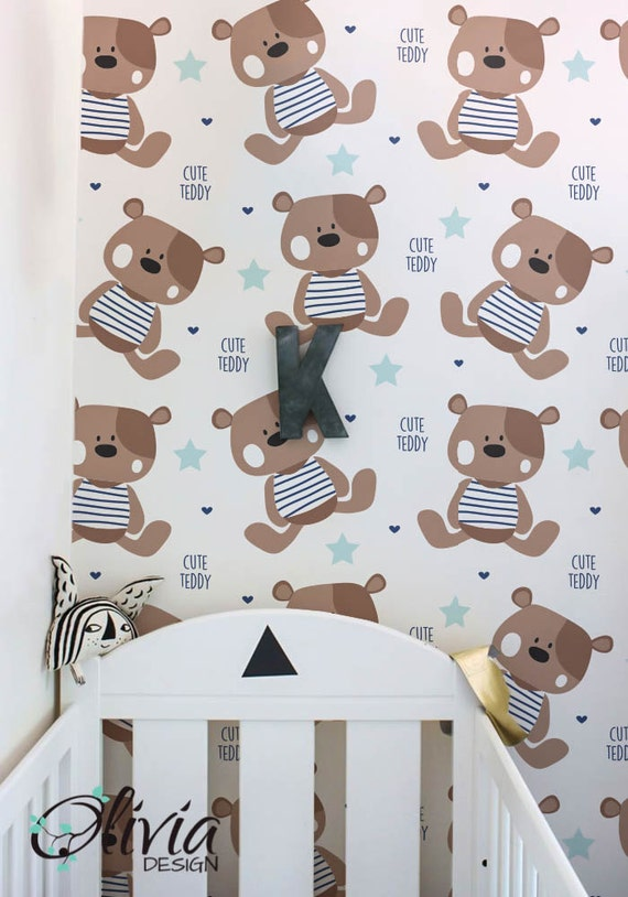 Teddy Bear Pattern Print Wallpaper Peel And Stick Accent Wall Etsy