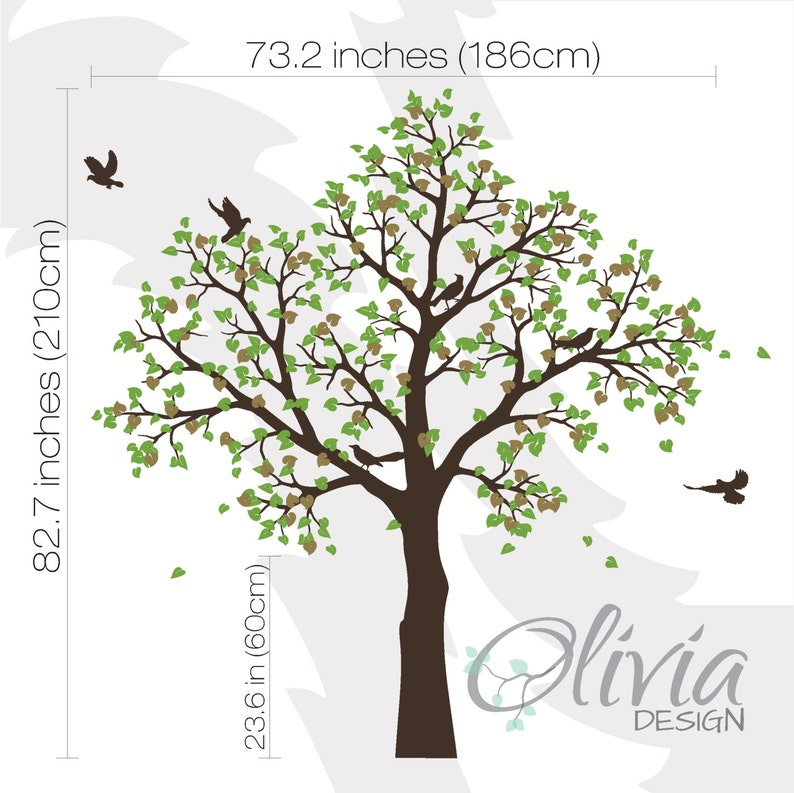 White Tree Wall Mural. Large Baby Nursery Decal. Tree With ...