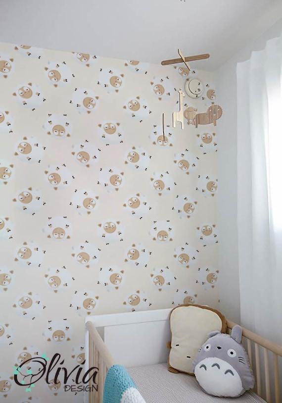 PEEL and STICK Baby Nursery PINK sheep pattern wallpaper Olb/_008 Selfadhesive vinyl removable wallpaper