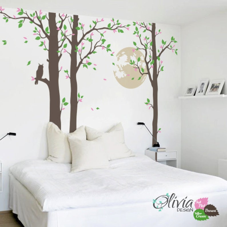 Large Tree With Full Moon /& Owl Removable Vinyl Wall Decal NT013