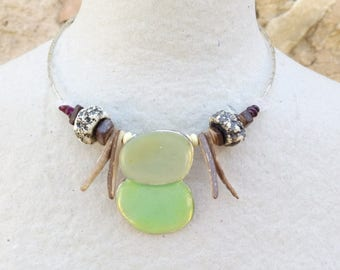 Green enamel, mothers, crew neck, bohemian necklace, rose quartz necklace, ethnic necklace, ceramic jewelry, necklace coconut